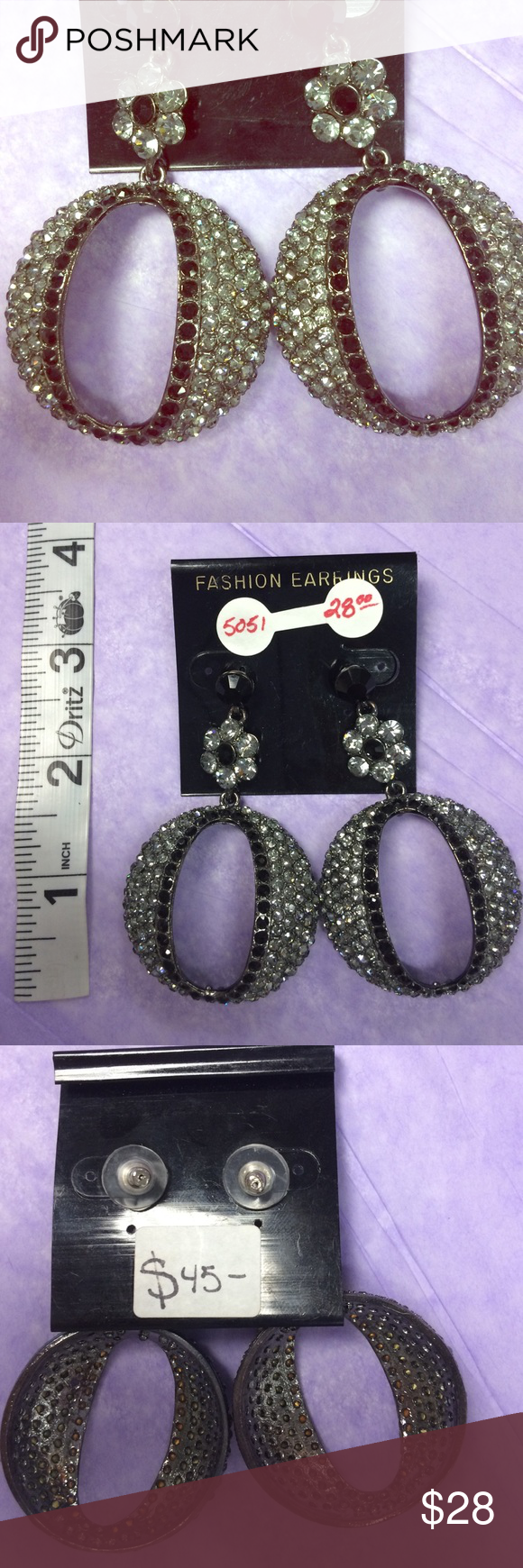 Earrings New, never worn rhinestone earrings.  Orig retail was $45 (tag is on back of card). Jewelry Earrings