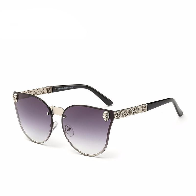 c6ea7f8c08f Skull Oversized Cat Eye Mirror Rimless Sunglasses