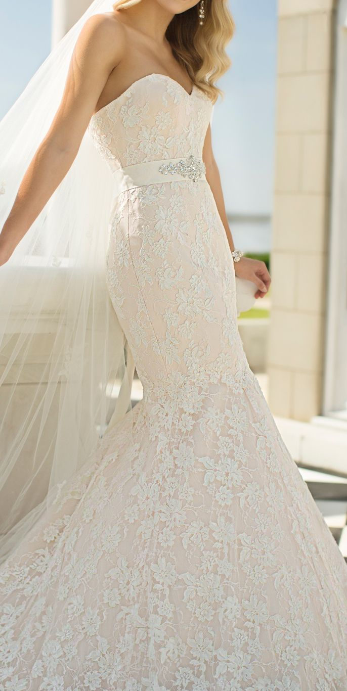 Love the silhouette, but I would opt for a different type of lace ...