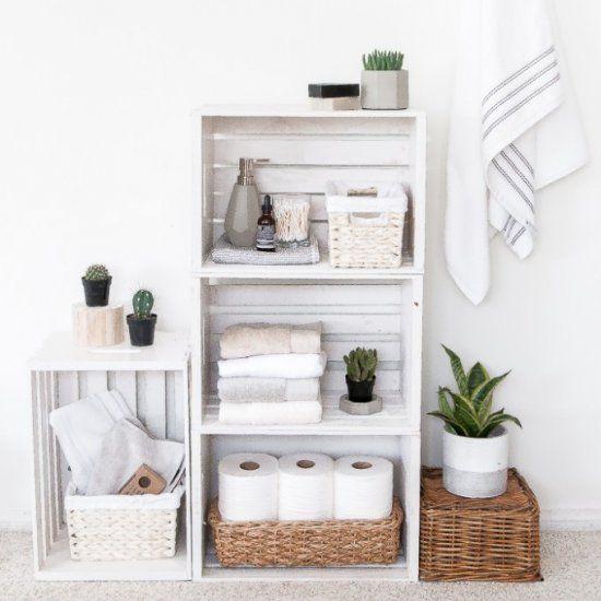 DIY Crate Shelves Bathroom Organize (Craft Gawker) Muebles para