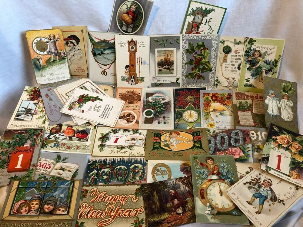 47 Antique New Years Postcards Several Tucks 1907 1925