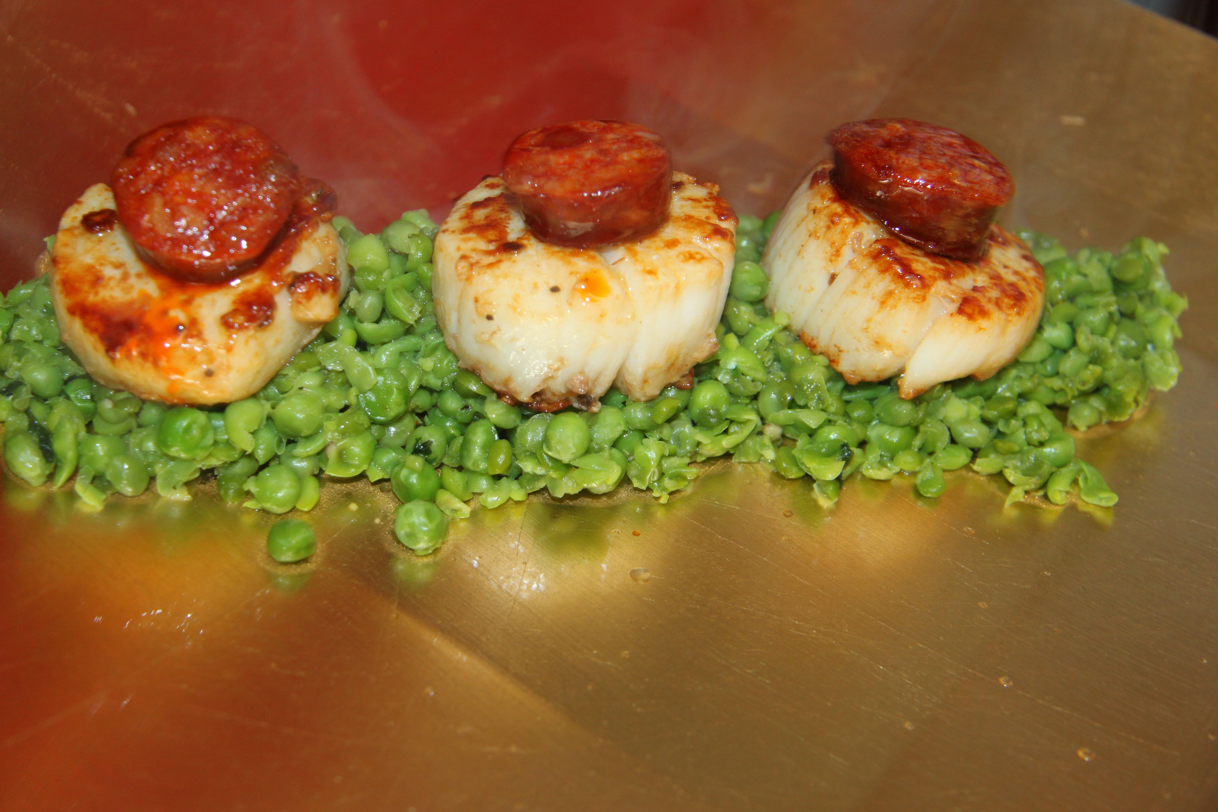 Scallop and Chorizo quick and easy and very pleasing. Easy home cooking for dinner party