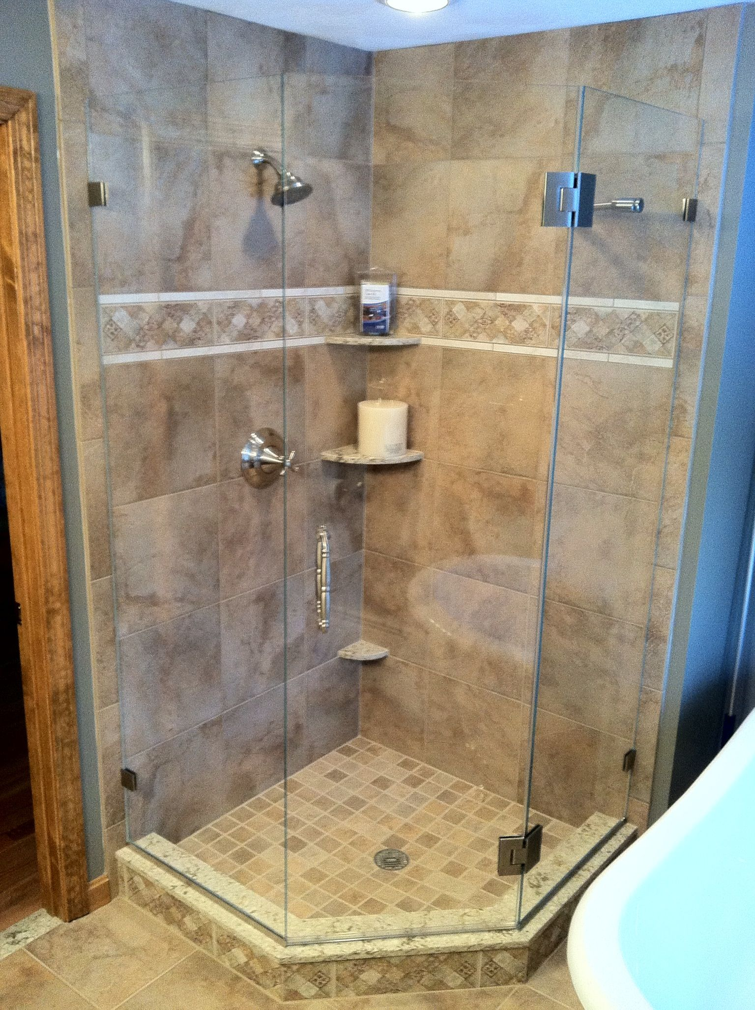 Corner glass shower | Bathroom Redo | Pinterest | Shower enclosure ...