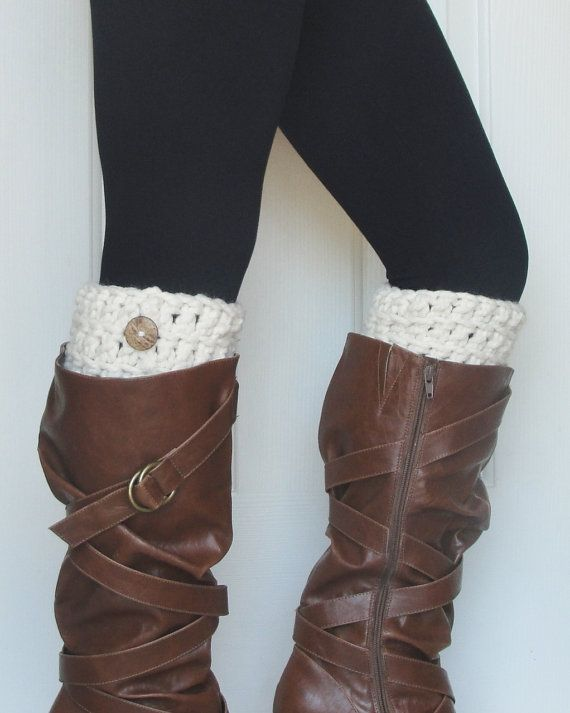 Crochet boot cuffs in off white for fall :) | My Style | Pinterest