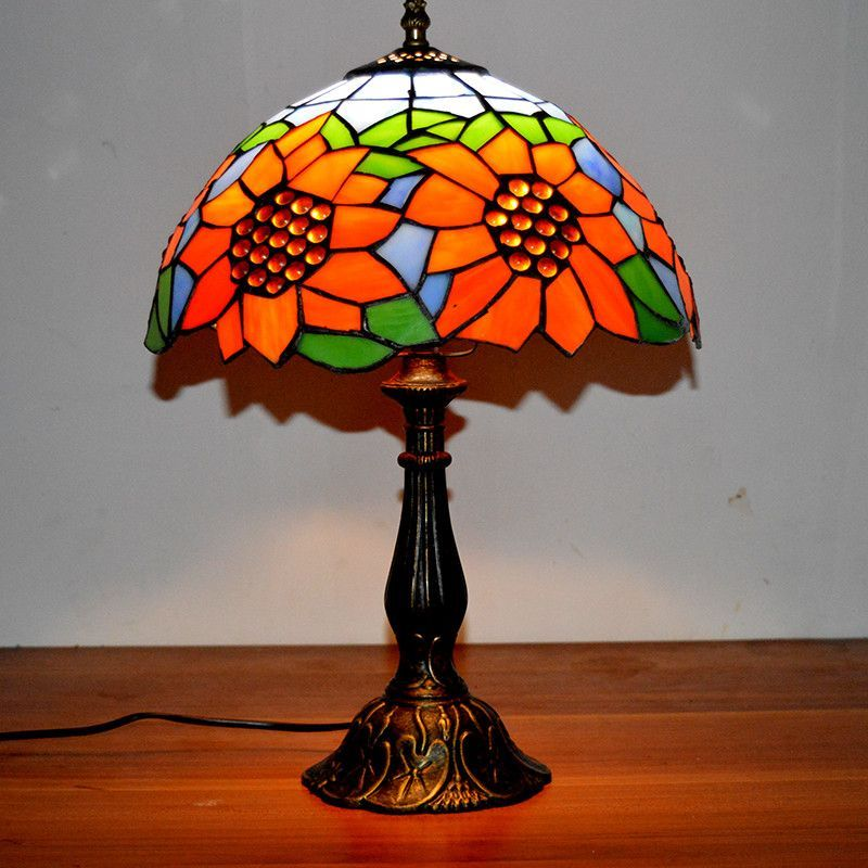 """8"""" Romantic Sunflower Vintage Style Multicolored Glass Tiffany Lamp"""