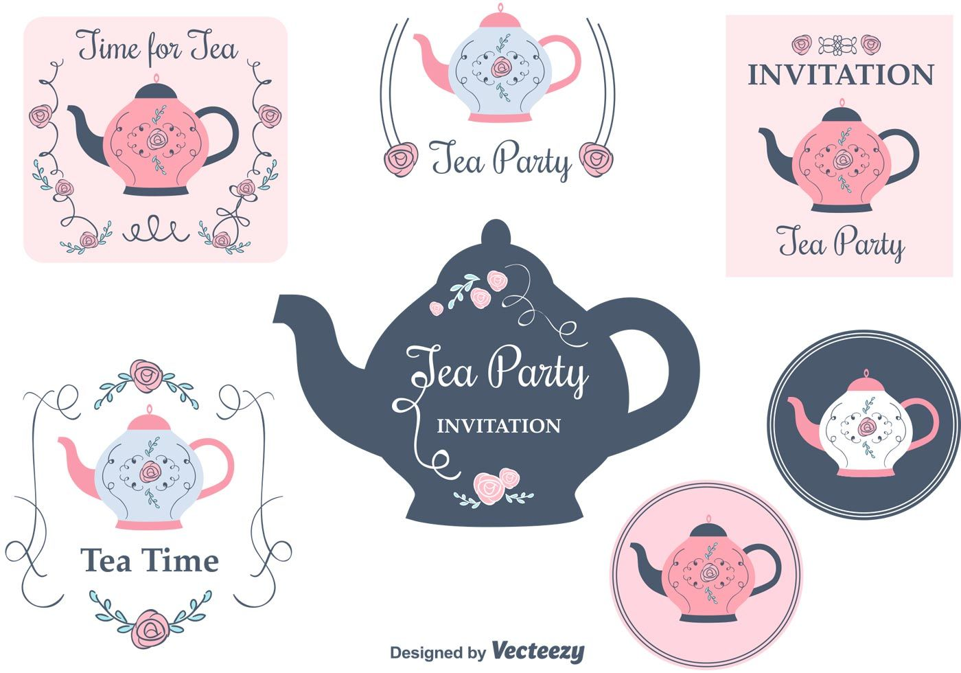 Free set of vintage tea party invitation cards printables free set of vintage tea party invitation cards stopboris Gallery