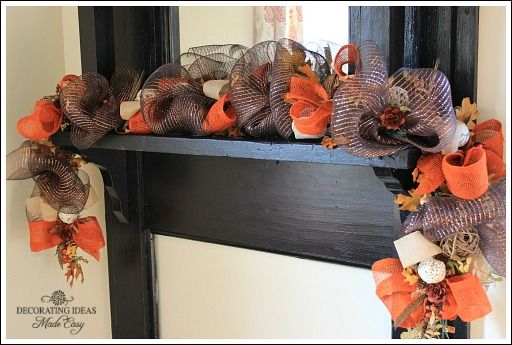 uses a six foot lighted Christmas garland for the foundation of this fall garland. Tutorial
