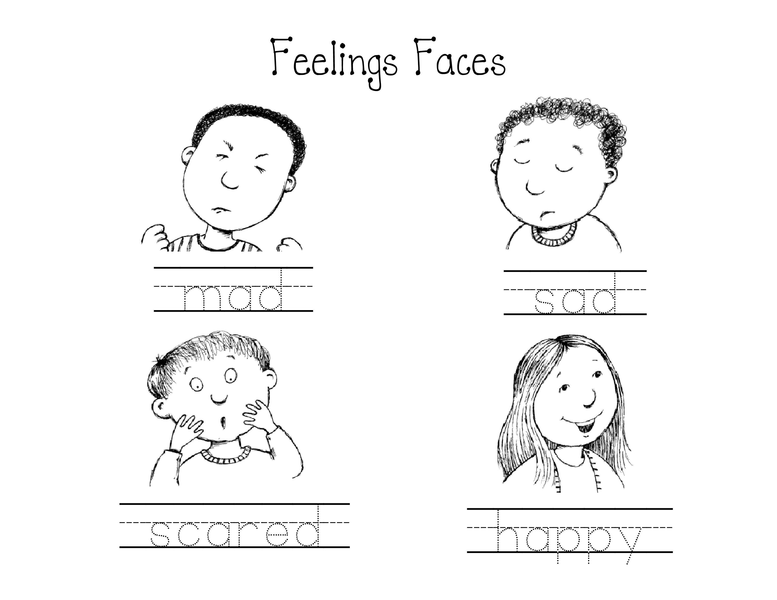 Kindergarten Feelings Faces worksheet circle the mad face red – Feelings Worksheets for Kids