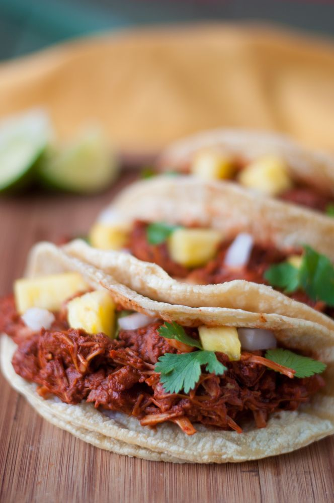 Jackfruit is simmered in a rich, flavorful Mexican chile sauce inspired by street tacos. #vegan #mexican (Cheap Easy Meal Families)