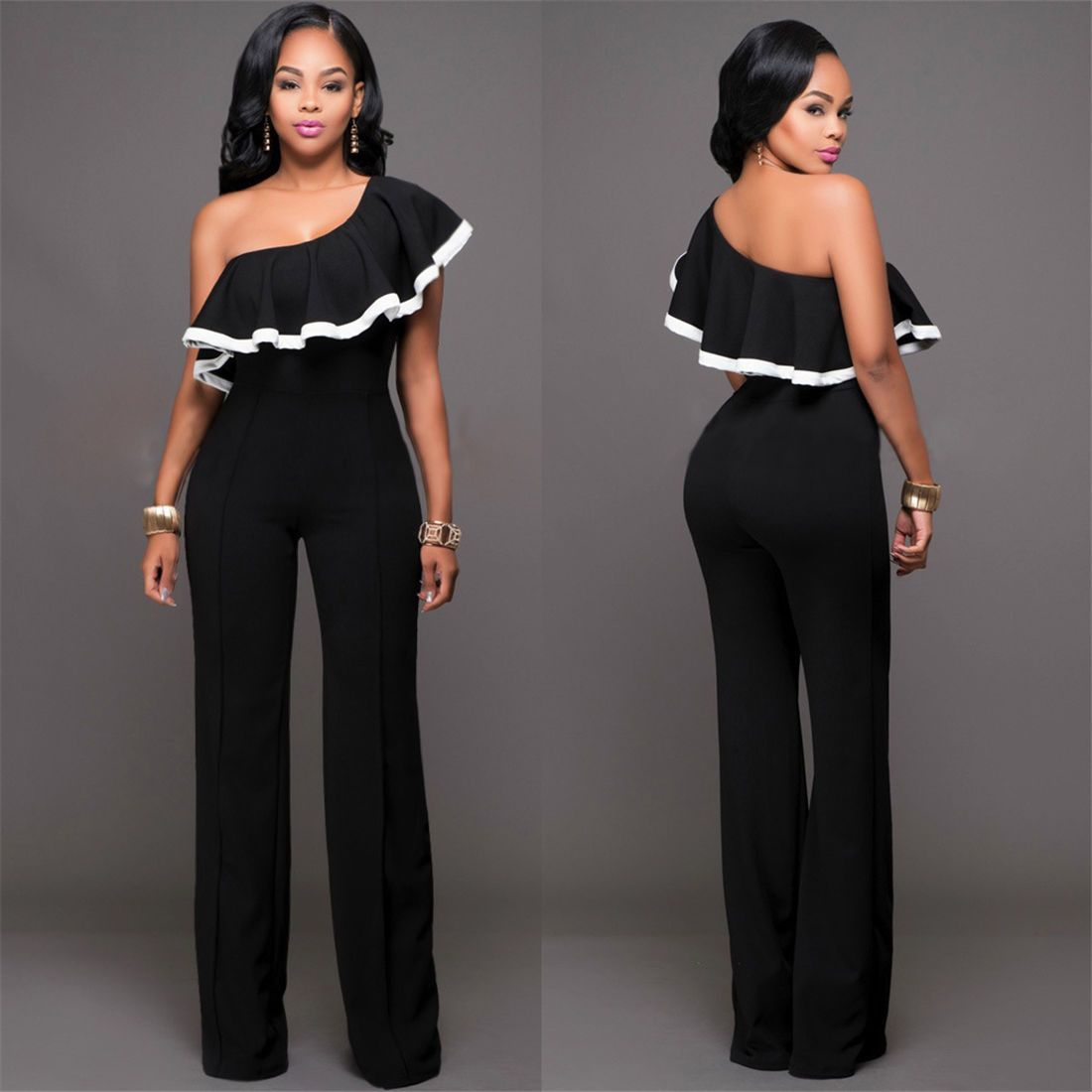 3a32fd7bff Women Clubwear One Shoulder Tops Playsuit Bodycon Party Jumpsuit Romper  Trousers