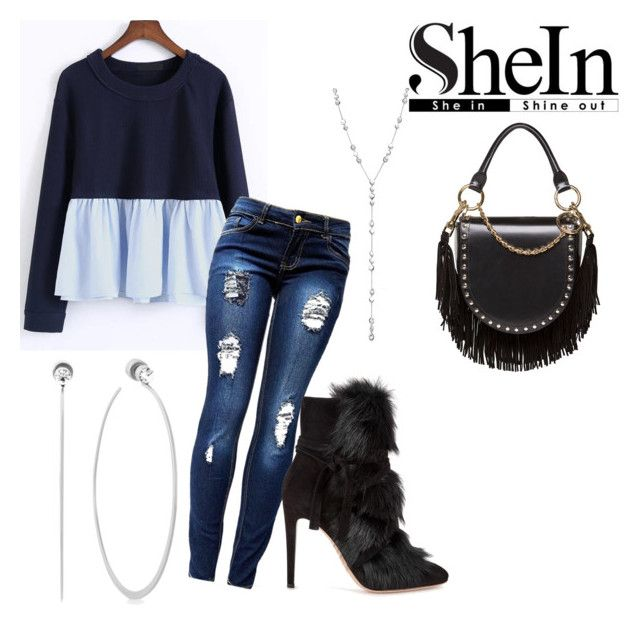 """SheIn Blue Shirt"" by girlie87 ❤ liked on Polyvore featuring Gianvito Rossi, Sacai, Ippolita and Michael Kors"