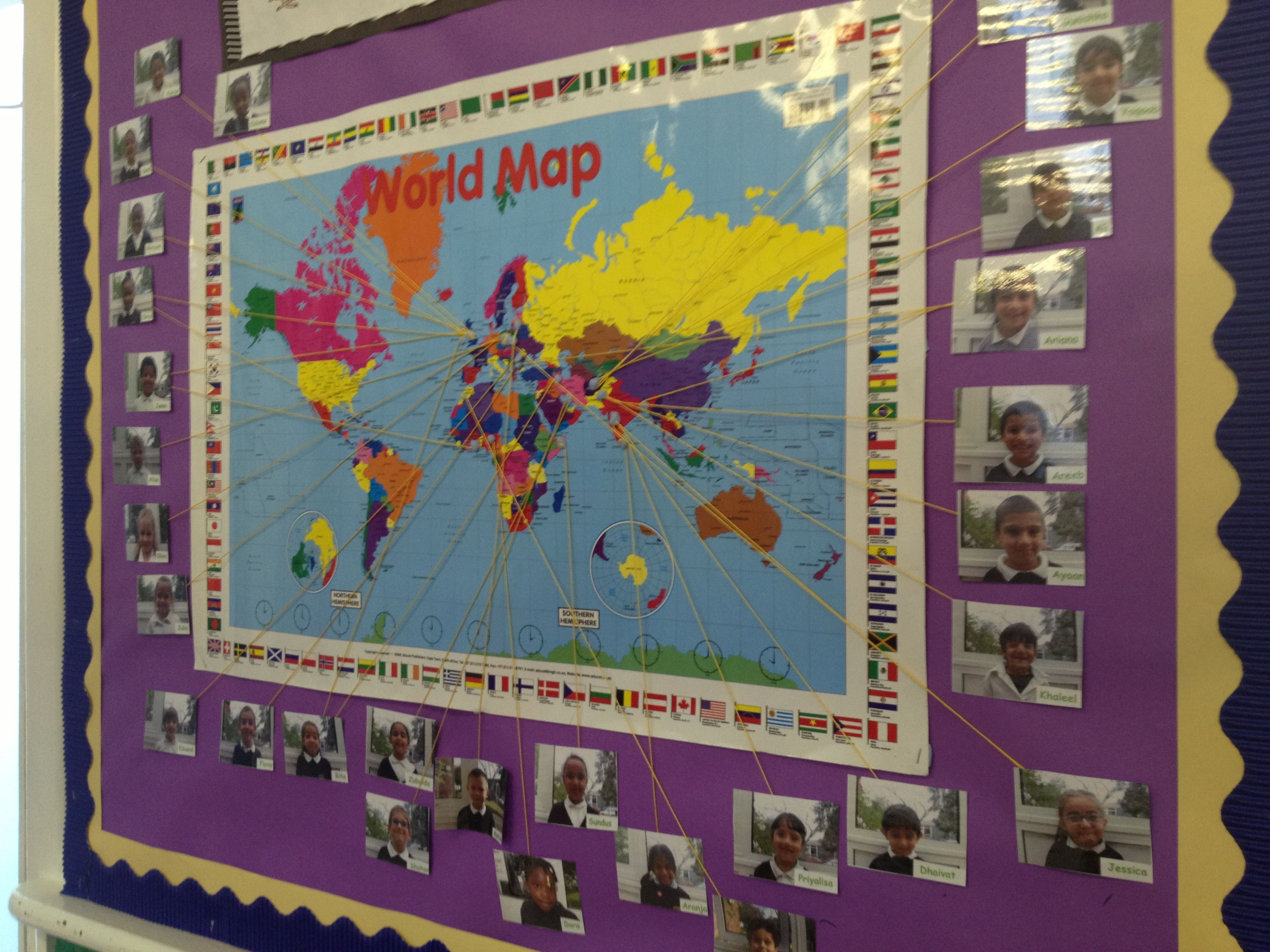 Multicultural Classroom Decor ~ World map to show the multicultural heritage of your class