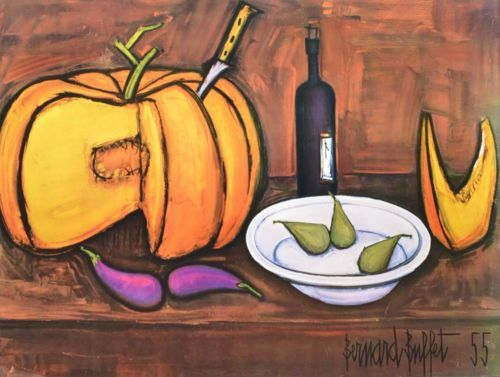 Excellent Bernard Buffet Still Life With Pumpkin Vintage Lithograph Download Free Architecture Designs Scobabritishbridgeorg
