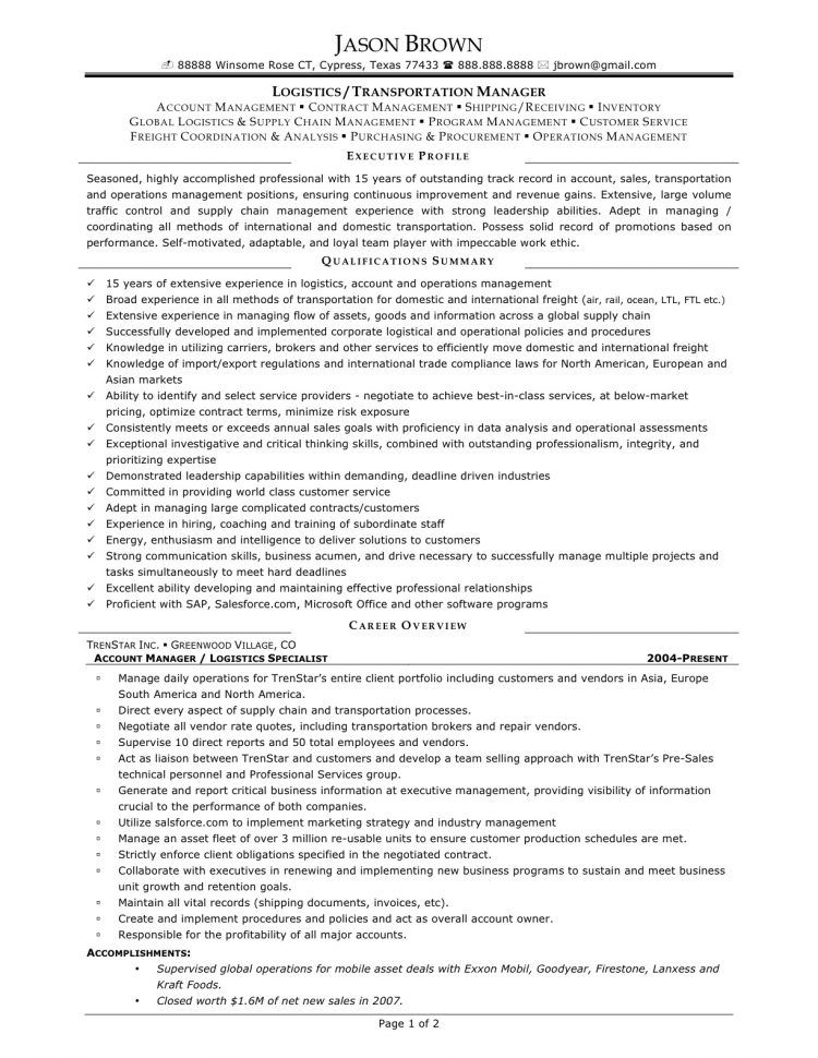 Logistic Manager Resume Logistics Manager Cover Letter 28 Images Logistics Manager Resume 18 .
