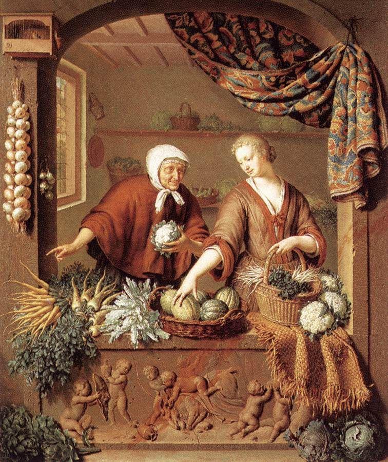 Kitchen Art Leiden.The Greengrocer By Willem Van Mieris 1731 Oil On Wood Art