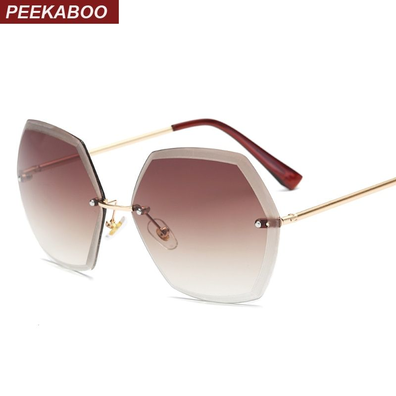 e1d87bddb39 Peekaboo Oversized Rimless Sunglasses Hexagon Pink Orange Tinted Gradient  Women Rimless Sun Glasses Ladies Uv400