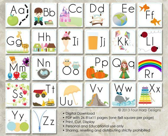 SET Alphabet & Colors Wall Cards - DIY Printable for ...
