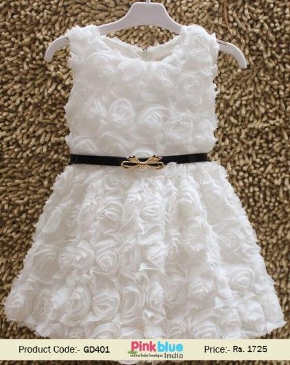 2b457821c61 Classy White Floral Net Boutique Dress for Girls with Belt