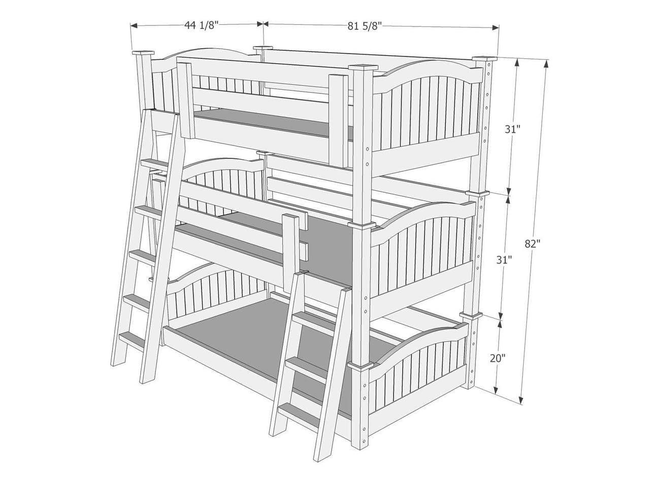 Dimensions Of Triple Bunk Bed B59 Triple Bunk Bed Bunk