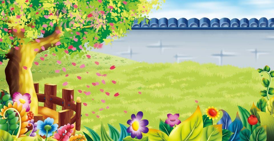 الفناء الخلفي زهرة شجرة بستان الخلفية Backyard Trees Background For Photography Flower Canvas