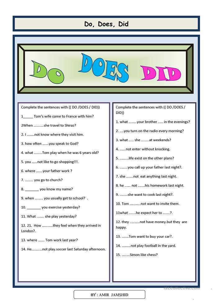 Do Does Did Grammar Questions Simple Past Tense Helping Verbs