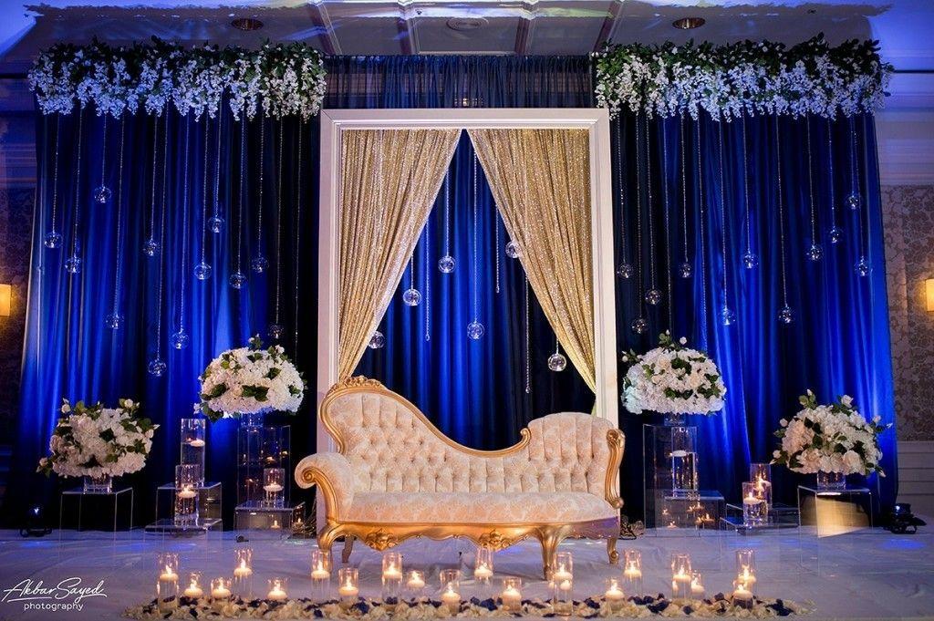 Wedding Stage Decor Royalblue Gold Backdrop Weddingbackdrop