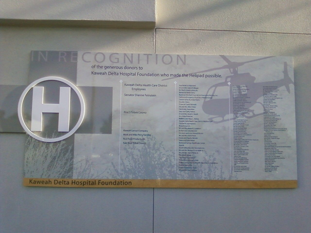 Donor Wall Outdoor Partners In Recognition Inc Donor Wall Heath Care Wall