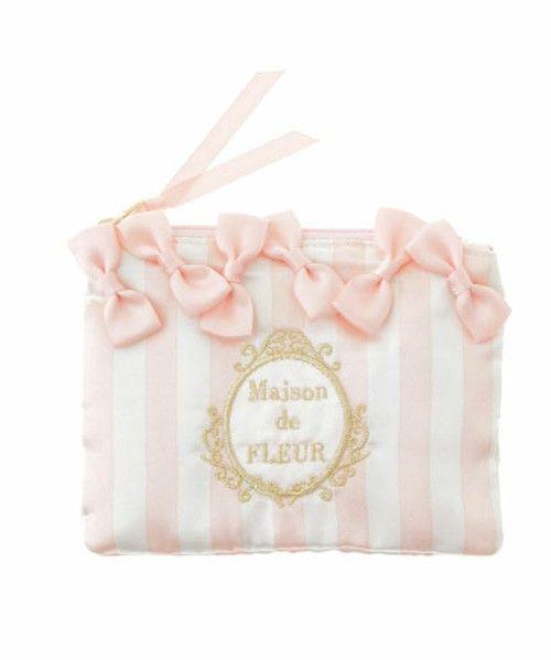 e546ae6fe70c Maison de FLEUR(メゾンドフルール)のストライプティッシュポーチ(ポーチ)|ピンク