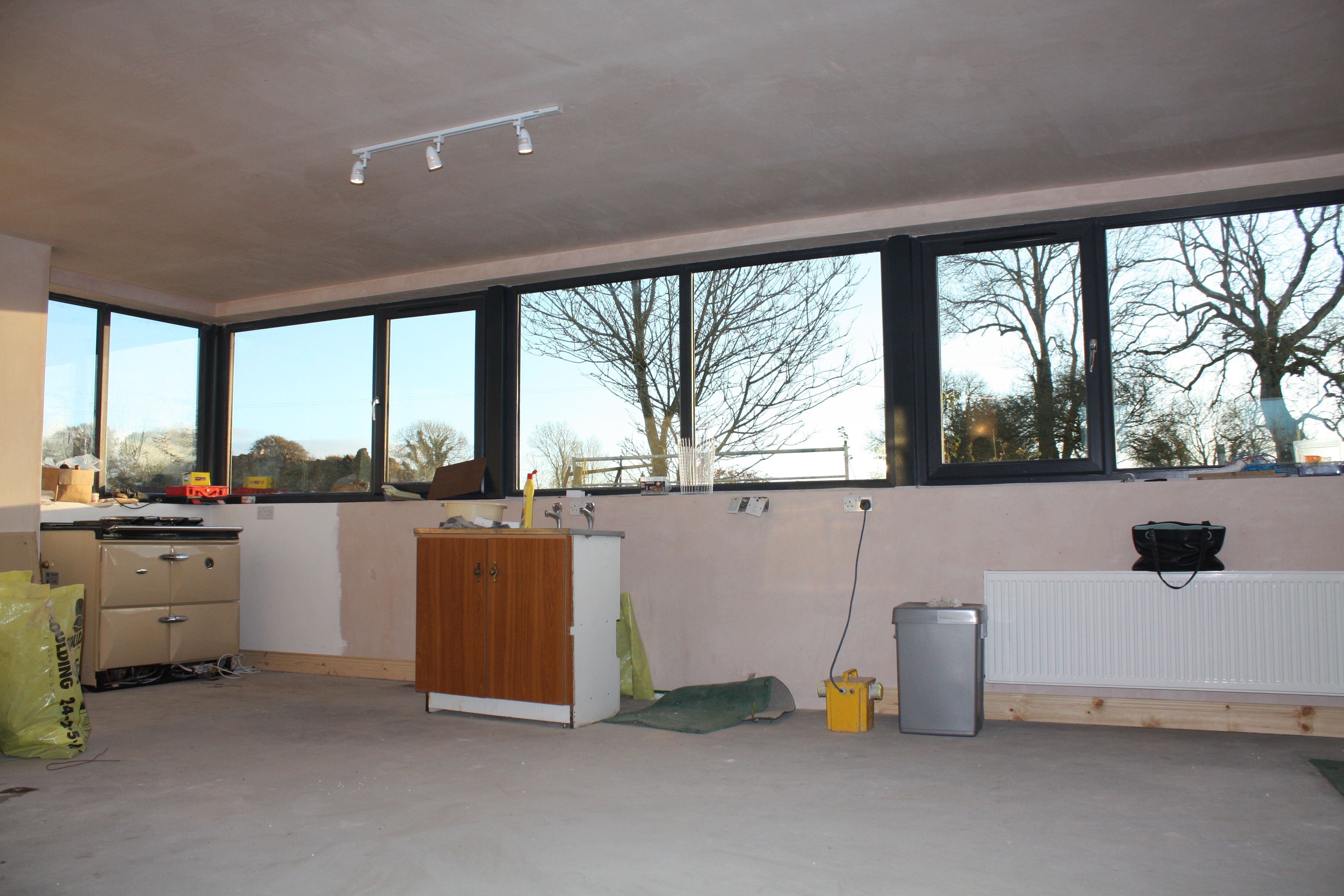Kitchen on this contemporary extension to traditional storey irish farmhouse complete builders finish also rh pinterest