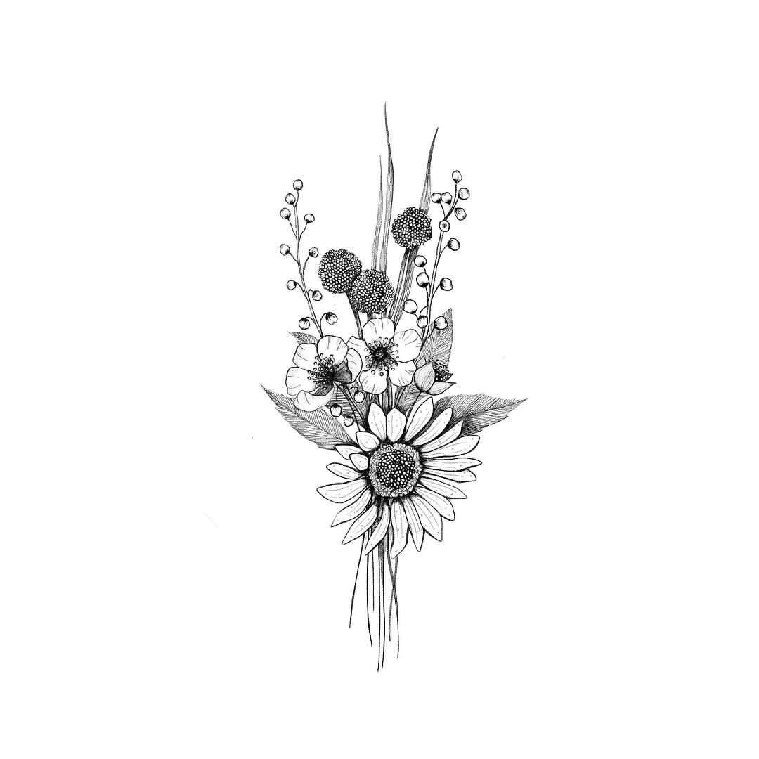 "Alice on Instagram: ""▫️ Tiny Bouquet ▫️ . I began to practice drawing small floral arrangements. This is the first one 🖤 . #bouquet  #floweroftheday…"""