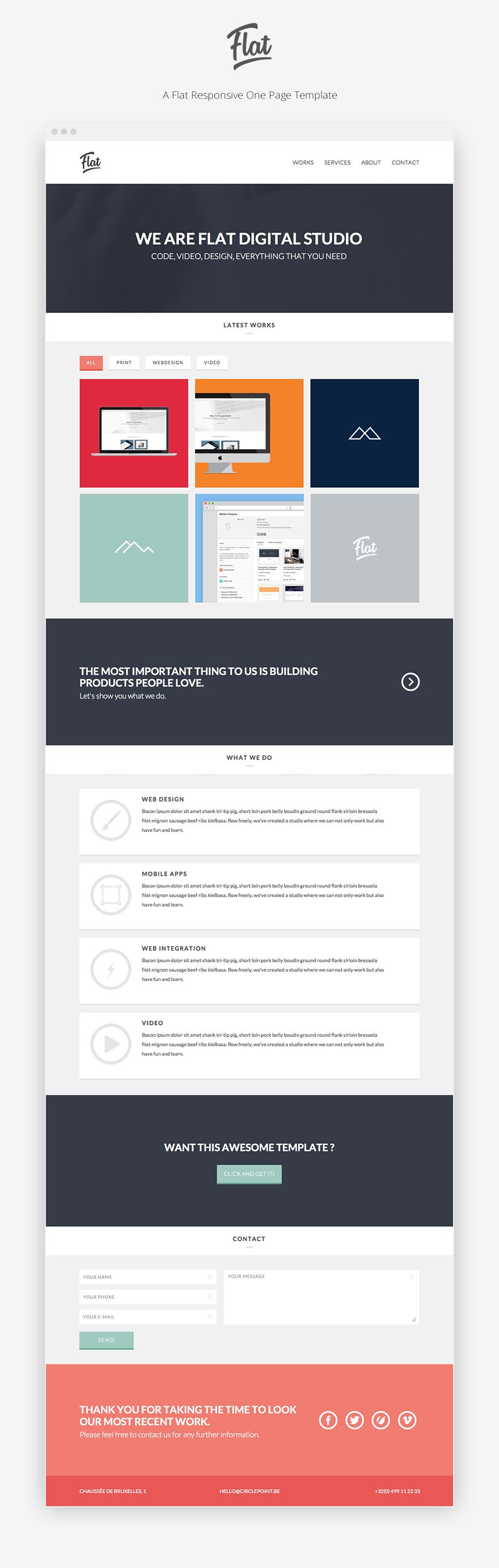 Flat Studio A Flat Responsive One Page Html Template Website Design Inspiration Web Design Css Templates