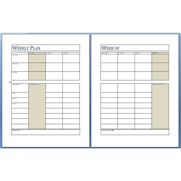 The Weekly Planning Page Helps You To Organize And Coordinate