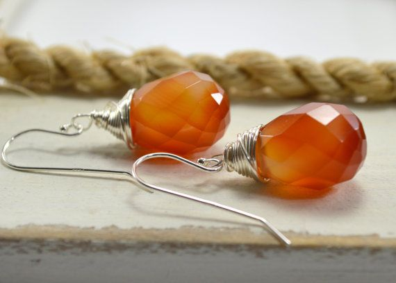Carnelian Earrings. Gemstone Earrings. by MilionSplendidPearls, $25.00