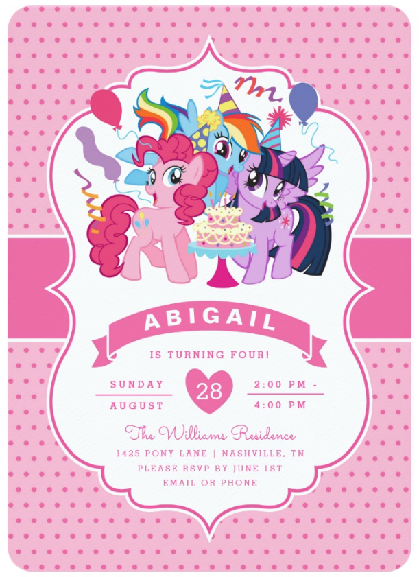 My Little Pony Pink Birthday Invitation Zazzle Com