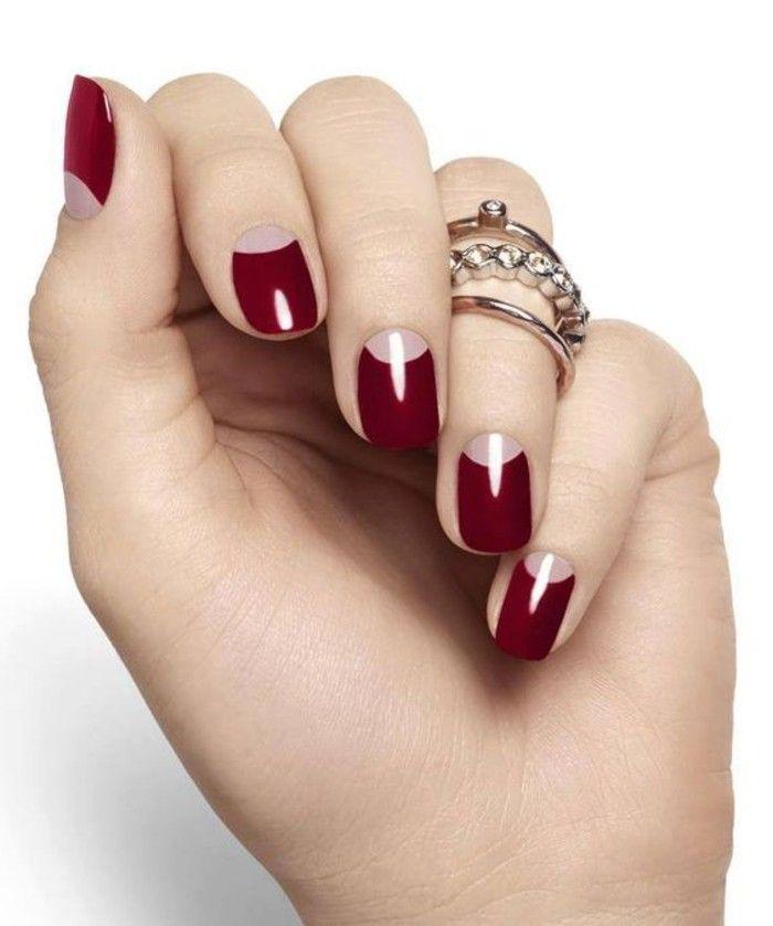 00 ongle en gel deco idees deco ongle en rouge foncé femme moderne