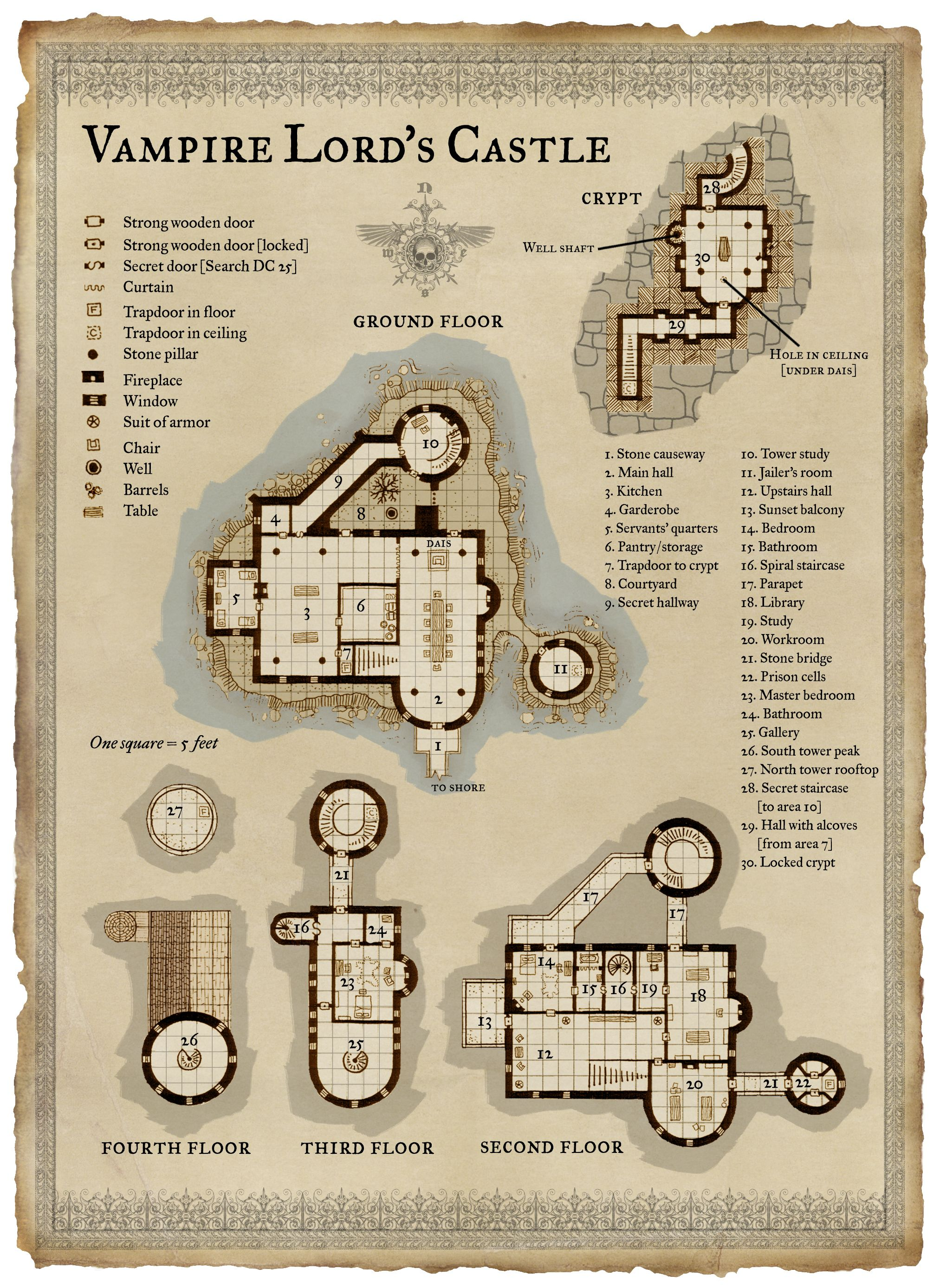 Dnd Castle Map : castle, Vampire, Lord's, Castle, Dungeon, Maps,, Pathfinder