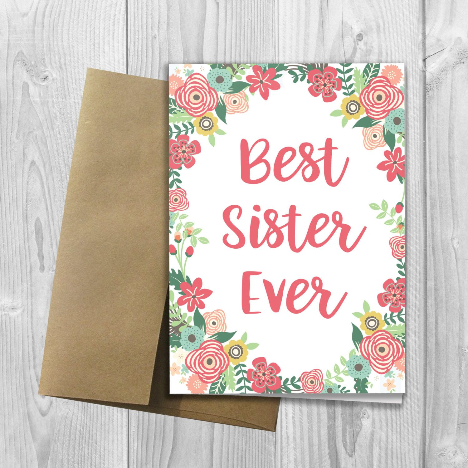 Best sister ever floral watercolor mothers day 5x7 printed best sister ever floral watercolor mothers day 5x7 printed greeting card flowers notecard kristyandbryce Images