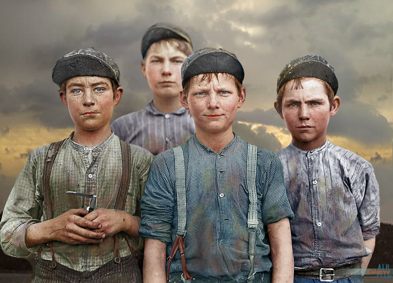 Doffer boys in macon ga 1909 colorized y alex lim