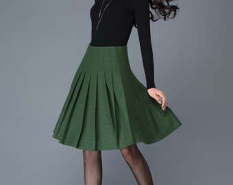 A-Line Wool Skirt – Winter Warm Midi-Length Buttoned Olive Green Flared Handmade Skirt with Buckle Waist Detail and Leather Trim C760
