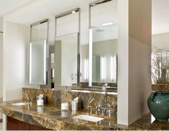 24 Element Ceiling Counter Mount Mirror With Optional Upgrades Available Brushed Or Polished Steel Element Ele Electric Mirror Mirror With Lights Mirror