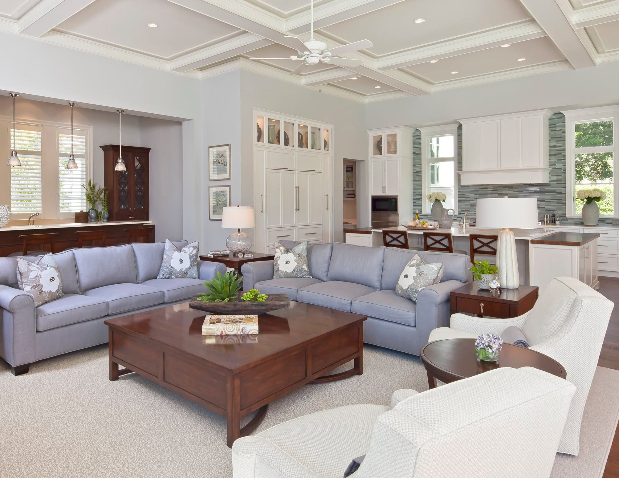 Collins & Dupont Design Group living room kitchen in waterfront community estate. design