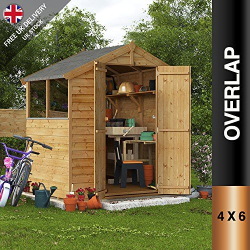 4x6 Overlap Wooden Shed Garden Store Double Door Window Apex Roof Felt 4ft  X 6ft