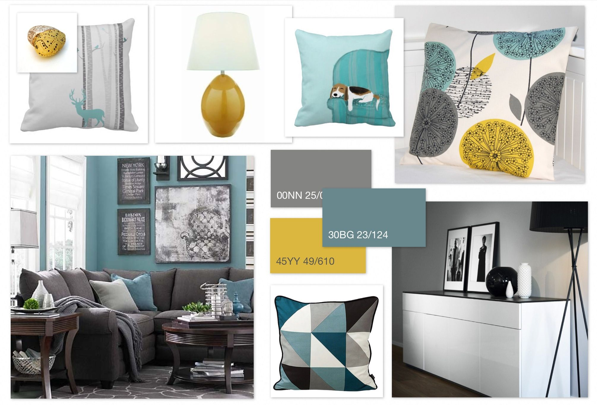Grey Teal & Ochre scheme for a family living room