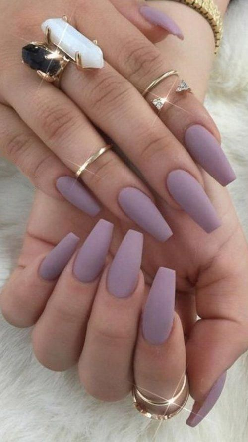 Cute Solid Color Acrylic Nails