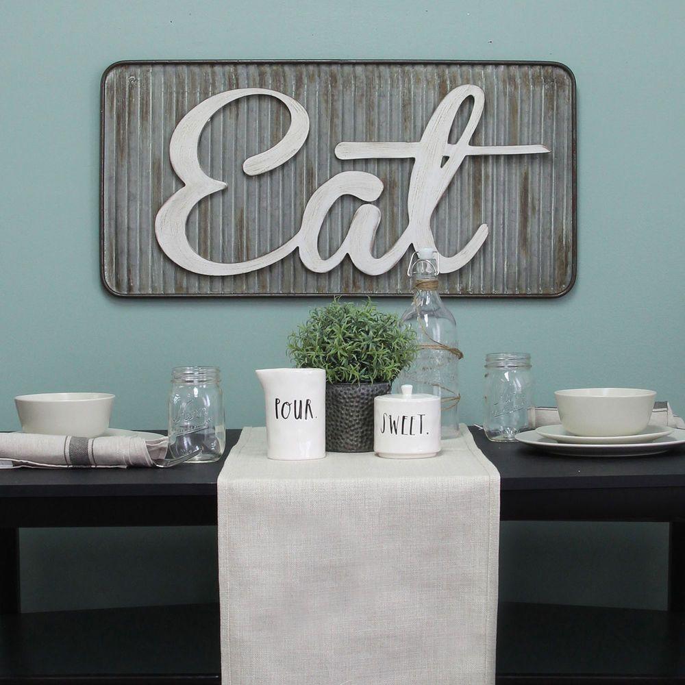 Eat large galvanized metal wall sign farmhouse kitchen