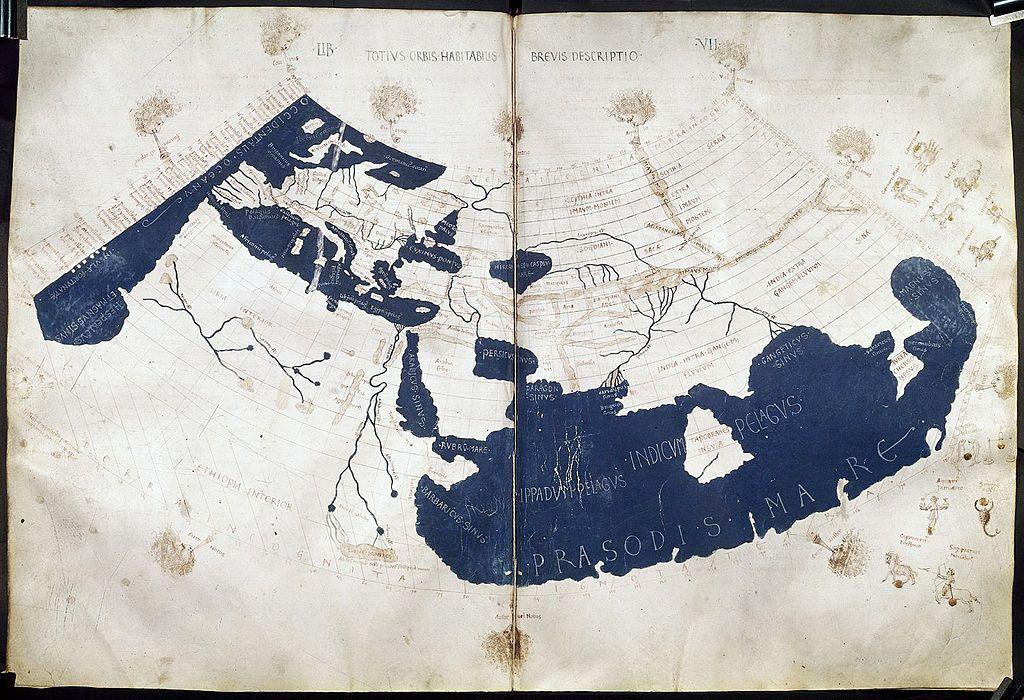A 15thcentury manuscript copy of the Ptolemy world map