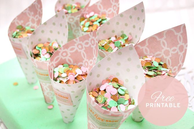 Adorable idea! Check out these free printable wedding confetti cones - confeti