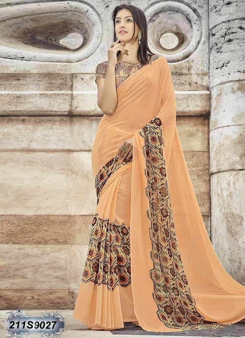 56cabd67baa Striking Orange and Brown Coloured Georgette Printed Saree