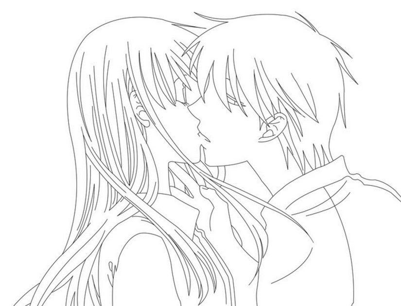 Desenhos De Animes Se Beijando Para Colorir