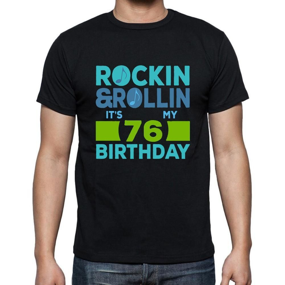Rockin&Rollin 76, Black, Men's Short Sleeve Rounded Neck T-shirt, gift t-shirt